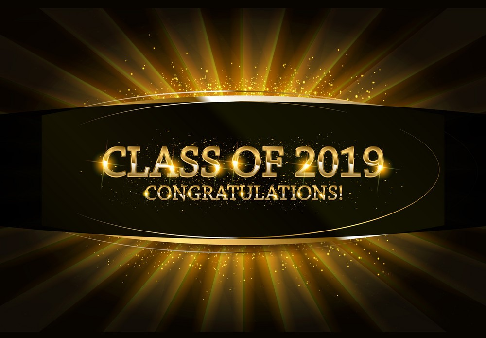 Class of 2019 Congratulations Graduates gold text with golden ribbons on dark background. Vector illustration